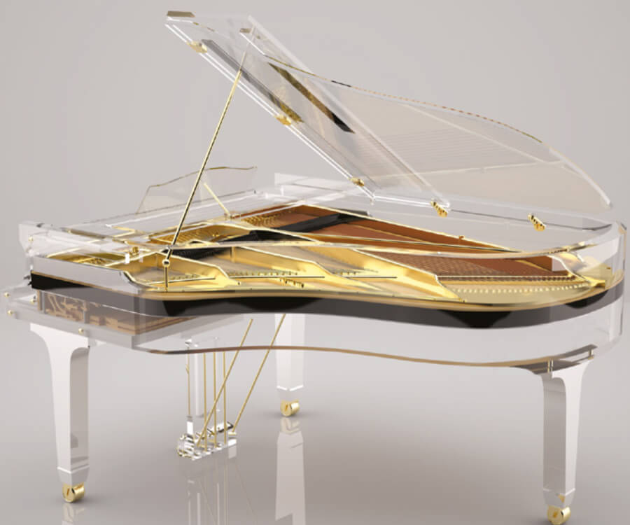 tranlucid piano transparente con dorado Russia