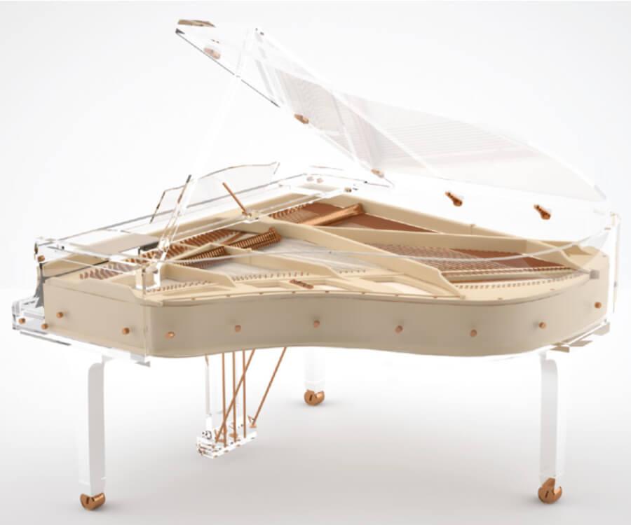 tranlucid piano transparente con madera Russia